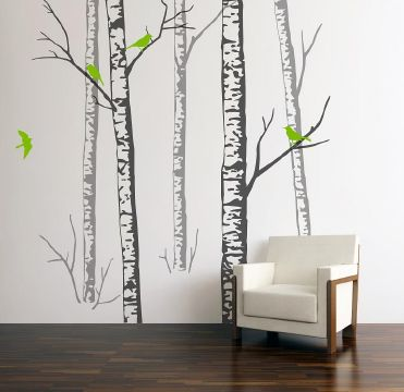 Birch Forest Wall Sticker with Lime Green birds
