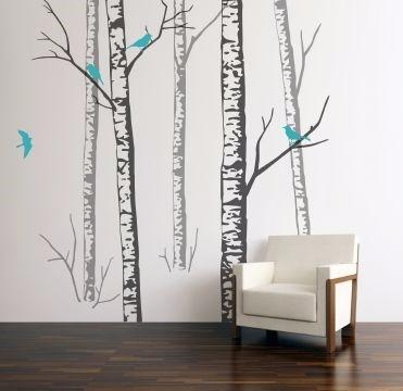 Birch Forest Wall Sticker with Turquoise birds