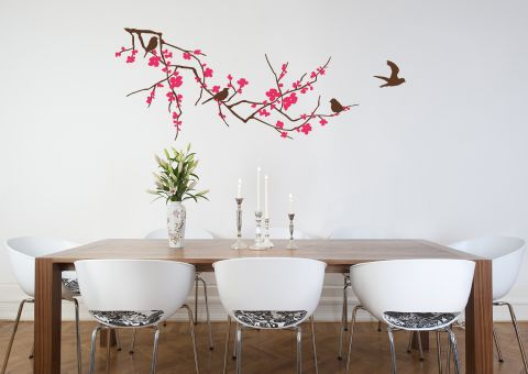 Branch with Blossom Brown and Magenta Wall Sticker