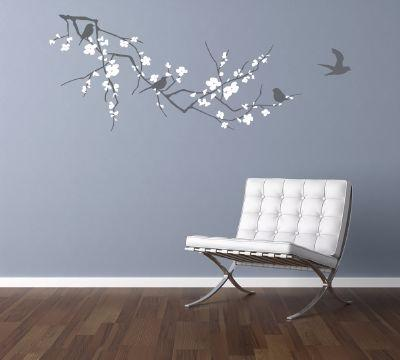Branch with Blossom Dark Grey and White Wall Sticker