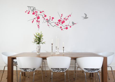 Branch with Blossom Light Grey and Magenta Wall Sticker