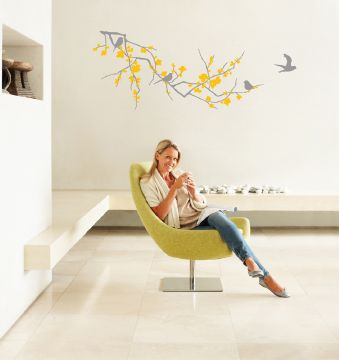 Branch with Blossom Light Grey and Yellow Wall Sticker