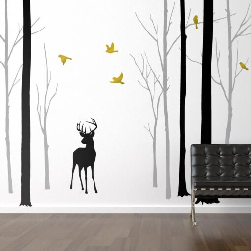 Deer in the Forest With Gold Birds Wall Sticker