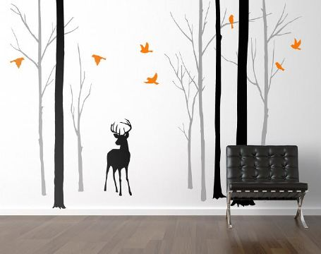 Deer in the Forest With Orange Birds Wall Sticker