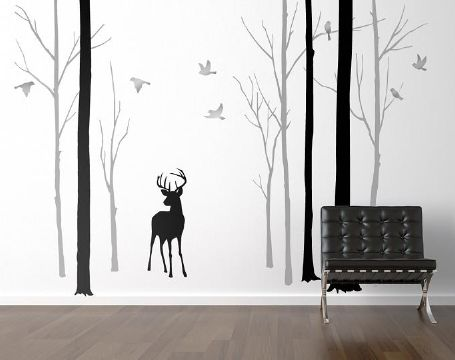 Deer in the Forest With Silver Birds Wall Sticker