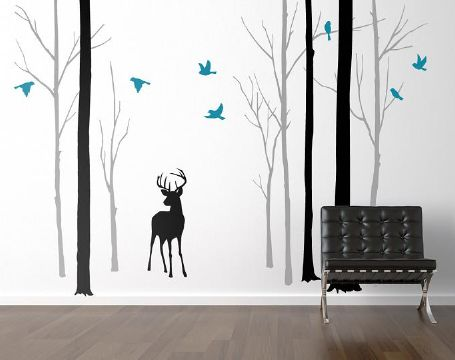 Deer in the Forest With Turquoise Birds Wall Sticker