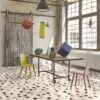 Dots vinyl floor tiles dining room