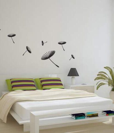 Floating Dandelions Wall Sticker Black