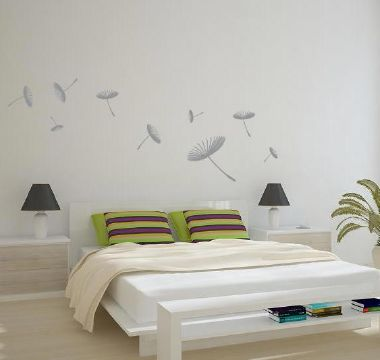Floating Dandelions Wall Sticker Light Grey