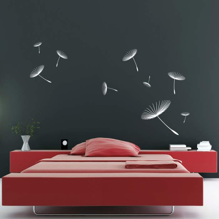 Floating Dandelions Wall Sticker White