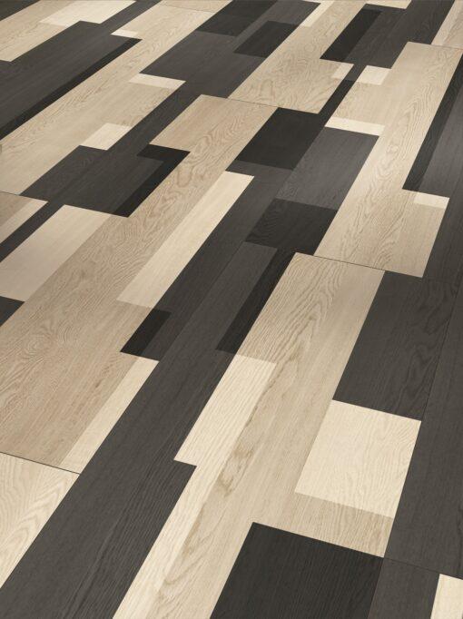 Geometric vinyl floor tiles