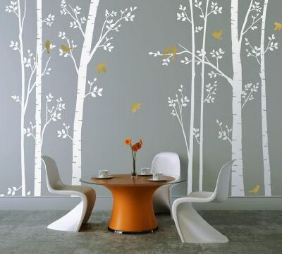 Leafy Trees White with Gold Birds Wall Sticker