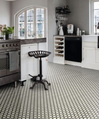 Ronda black vinyl floor tile
