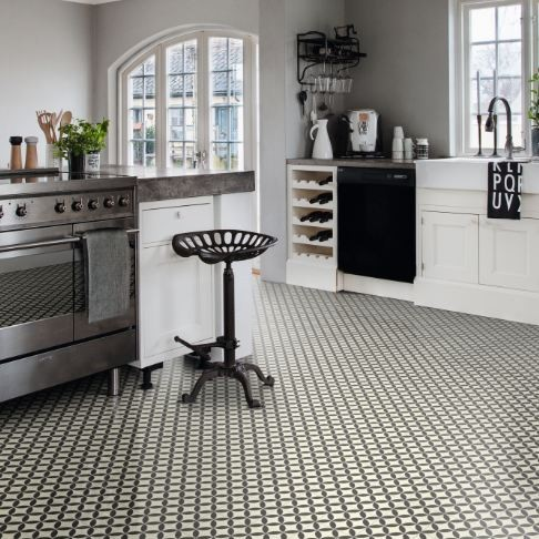 Ronda black vinyl floor tile