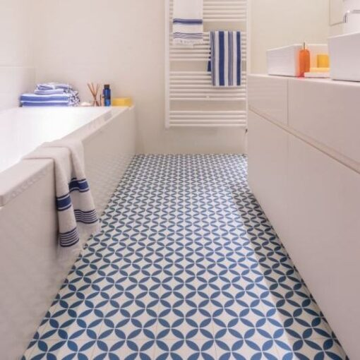 Ronda blue vinyl floor tile bathroom