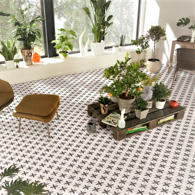 Compass White Ceramic Floor Tiles