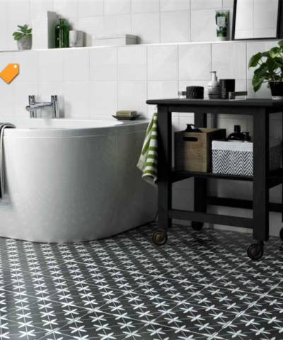 Compass Black Ceramic Floor Tile