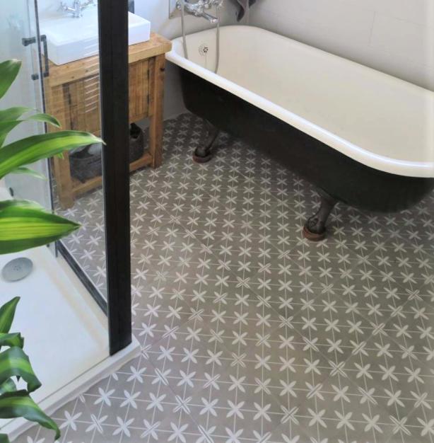 Compass Grey Ceramic Bathroom floor Tile