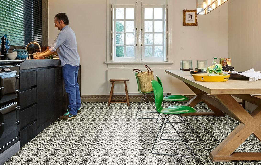 Kitchen square vinyl floor tile Seville
