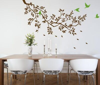 Spring Branches Brown with Lime Green Birds wall sticker