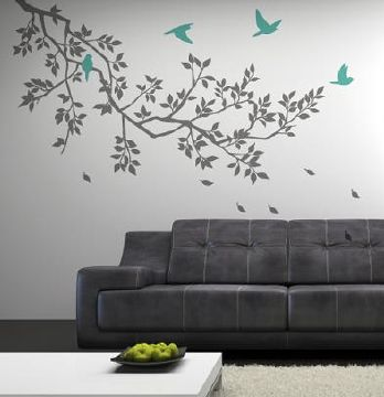 Spring Branches Grey with Turquoise Birds