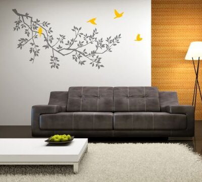 Spring Branches Grey with Sunflower Birds wall sticker