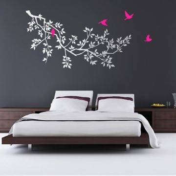 Spring Branches White with Magenta Birds wall sticker