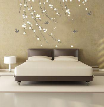 Trailing Blossom Grey and White Wall Sticker wall sticker