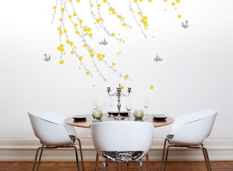 Trailing Blossom Grey and Yellow Wall Sticker