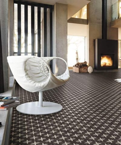 Compass Black & White Ceramic Tile