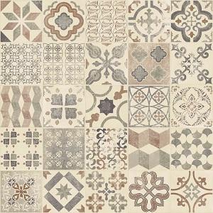 Vinyl floor tiles mixed