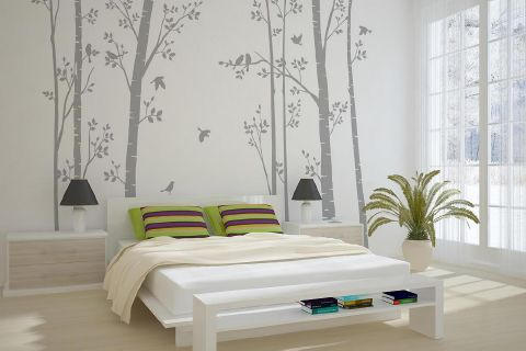 Leafy Trees Grey with Grey Birds wall sticker
