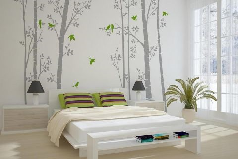 Leafy Trees Grey with Lime Green Birds wall sticker