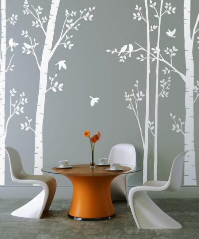 Leafy Trees White with White Birds wall sticker