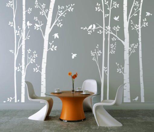 Leafy Trees White with White Birds wall sticker