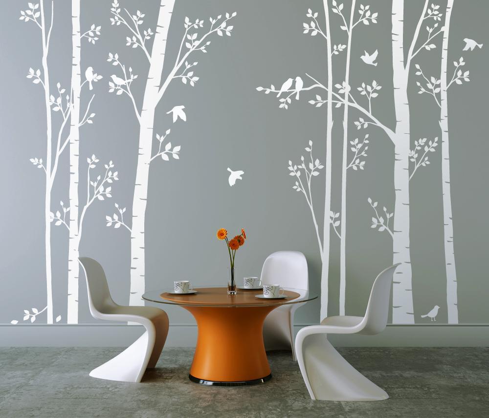 Leafy Trees White with White Birds