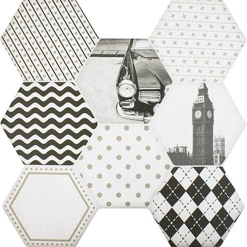 Porcelain tiles for the floor Octet black and white