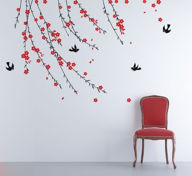Trailing Blossom Black and Poppy Wall Sticker