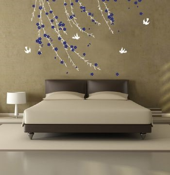 Trailing Blossom White and Cobalt Wall Sticker wall sticker