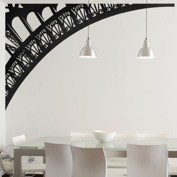 Eiffel Tower Arch Wall Sticker Black