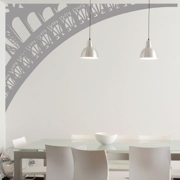 Eiffel Tower Arch Wall Sticker Grey