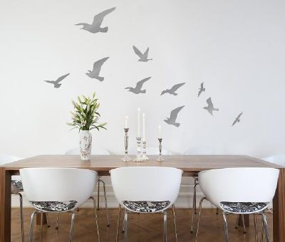 Flock of Birds Wall Sticker in Silver