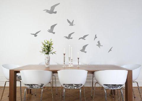 Flock of Birds Wall Sticker in Silver