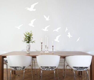 Flock of Birds Wall Sticker in White