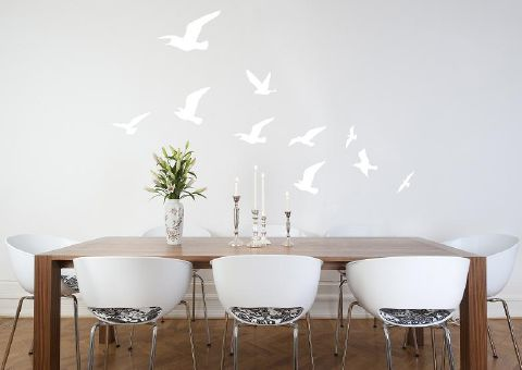 Flock of Birds Wall Sticker in White