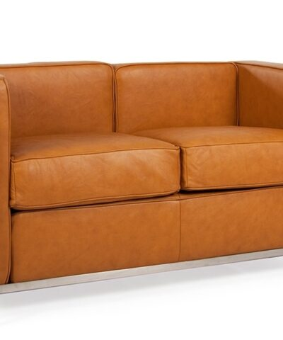 Le Corbusier LC2 2 seater tan sofa