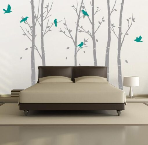 Urban Forest Wall Sticker Grey with Turquoise Birds