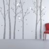 Urban Forest Wall Sticker Grey with White Birds