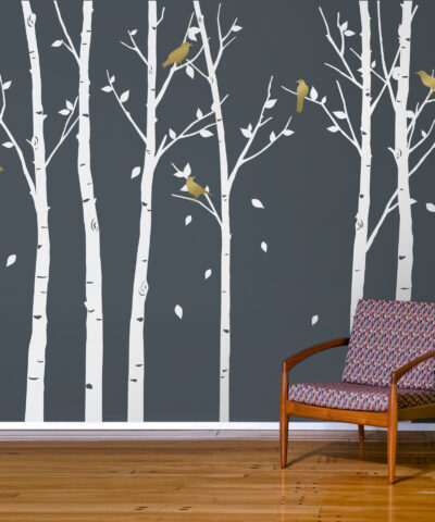 Urban Forest Wall Sticker White with Gold Birds
