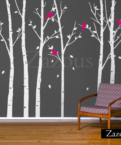 Urban Forest Wall Sticker White with Magenta Birds
